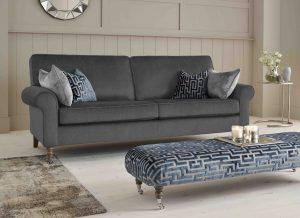 Raymond sofa in slate grey velvet